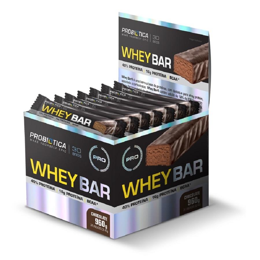 Whey Bar caixa com 24 unidades de 40g - Probiótica